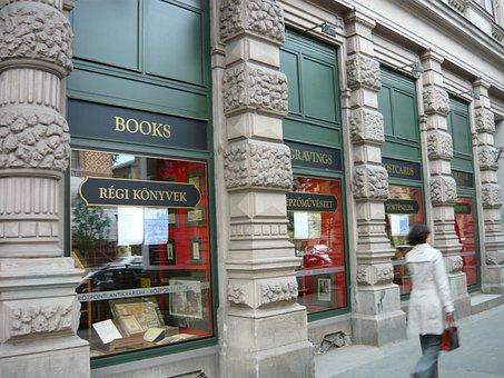 Bookstore, Antiquariat, Woman, Showcase, Urban, Antique