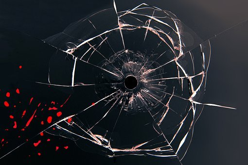 Glass, Bullet, Blood, Shot, Bullet Hole, Injury, Crime