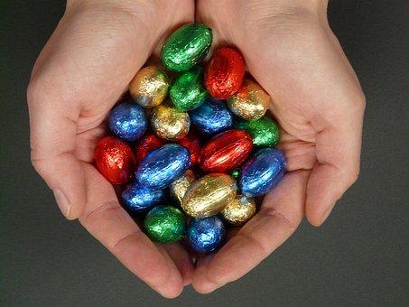 Easter Eggs, Easter, Sweetness, Nibble, Chocolate, Hand