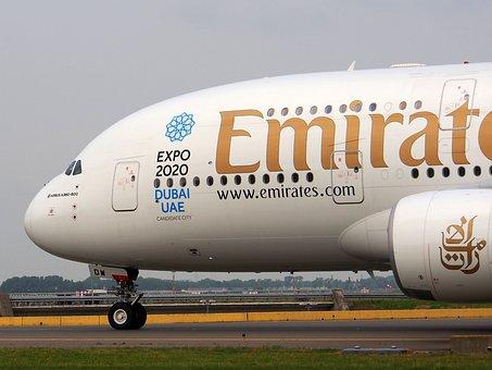 Emirates, Airbus A380, Aircraft, Plane, Airplane
