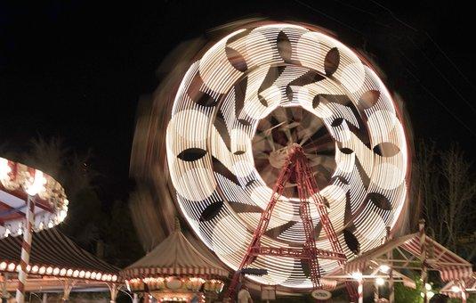 Fair, Noria, Night, Wheel, Party, Movement, Giro