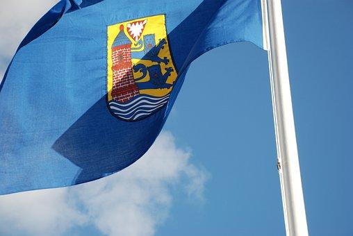 Flag, Flensburg, Ge, Blue, Cloud, Day, Light, Sign, Sun