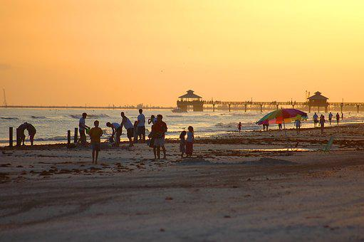 Fort Myers Beach, Florida, Sunset, People, Night, Beach