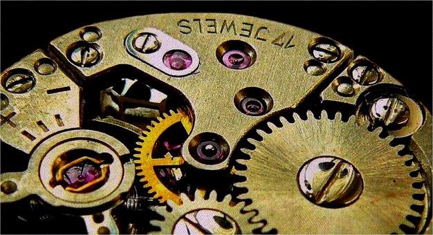 Clock, Movement, Gears, Gear, Transmission, Wheels