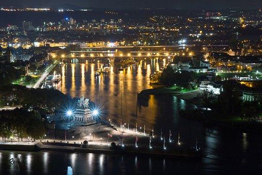Monument, German Corner, Koblenz, Night Photograph