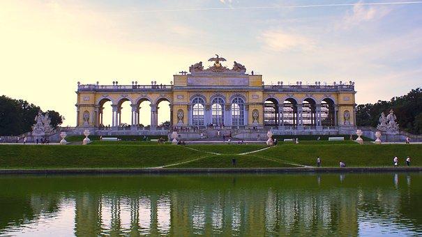 Schönbrunn Palace, Vienna, Gloriette, Water, Fountain