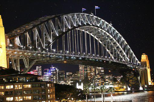 Harbor Bridge Sydney, Sydney, Nsw, Night Bridge
