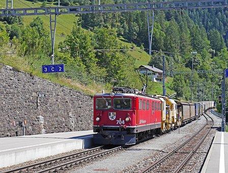 Rhaetian Railways, Freight Train, High Alps, Hub