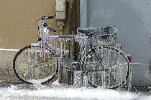 Icicle, Winter, Bike