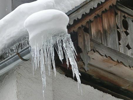 Snow, Ice, Icicle, Wood, Gutter, Winter