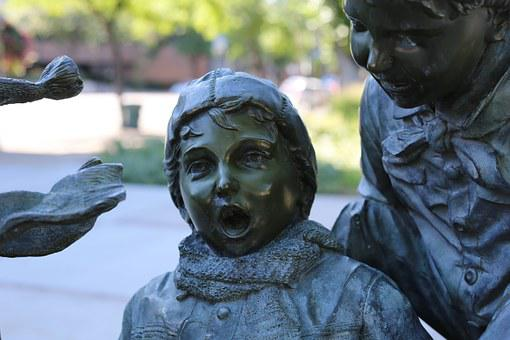 Child, Statue, Bronze, Outside, Outdoors, Summer