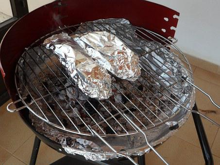Grill, Barbecue, Charcoal Grill, Aluminum Foil, Packed