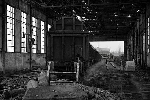 Railway, Train, Rails, Broken, Rust, Hall, Dilapidated