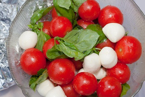Salad, Tomatoes, Trusses, Red, Green, Basil, Mozarella
