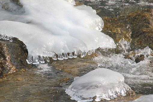 Icicle, River Ice, Ice, Water, Winter, Cold, Ice Plates