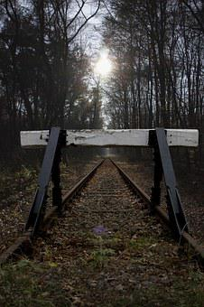 Buffer Stop, Siding, Glade, Forest, Trees, Forest Path