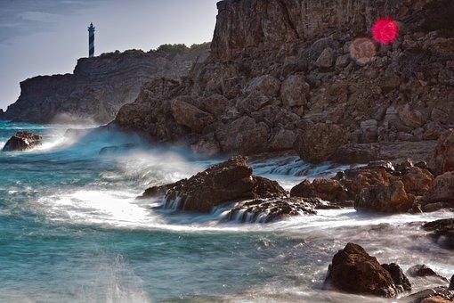 Sea, Lighthouse, Surf, Spain, Wave, Nature, Coast