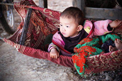 Baby, Small Child, Swing, Cradle, Asia