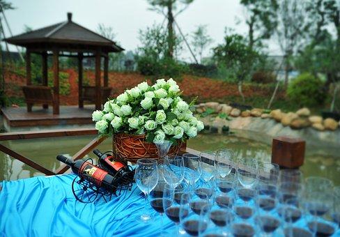 Buffet, The Scenery, Good Wine, Glasses, Celebration