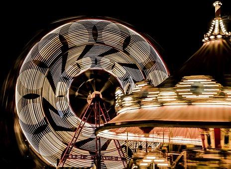 Fair, Noria, Party, Wheel, Night, Movement, Lights