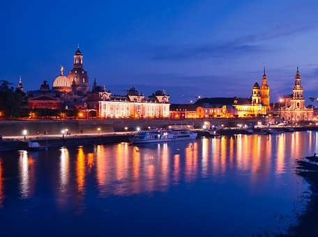 Dresden, Blue Hour, Old Town, Architecture