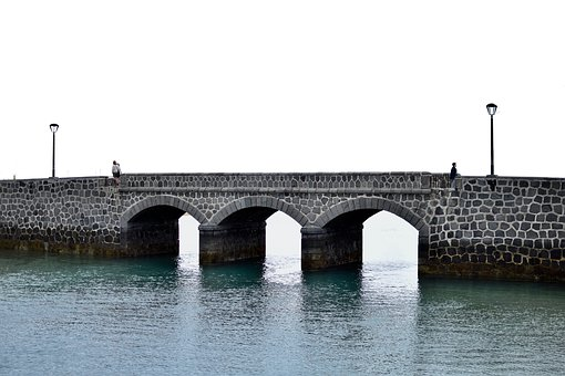 Bridge, Sea, Architecture, Stones, Port, Beach, Water