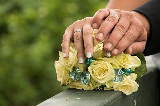 Wedding, Pair, Bride, Groom, Bridal Bouquet, Hands