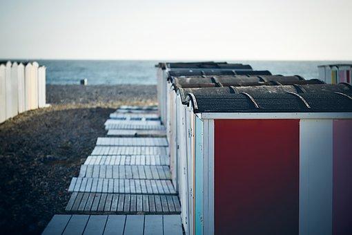 Beach, France, Cubicles, Changing, Sea, Landscape