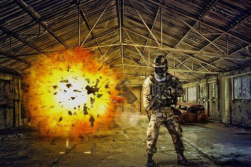 Abandoned Place, Destruction, Soldier, Explosion