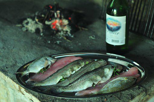 Fish, Seafood, Wine, Barbecue, Grill, Fire, Stone