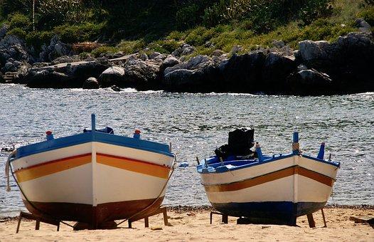 Fishing Boat, Sicily, Beach, Sea