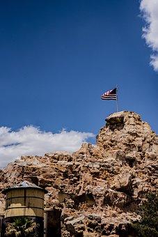 Flag, Usa, American, Mountain, Rocky Peak, Arizona