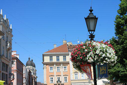 Lantern, Street Lamp, Flowers, Architecture, Sky