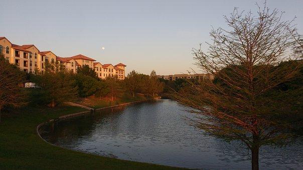 Lake, Apartment, Sunset