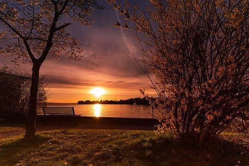 Nature, Landscape, Sunset, Scenic, Lake, Weather Mood