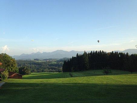 Bavaria, Mountains, Meadow, Forest, Captive Balloon