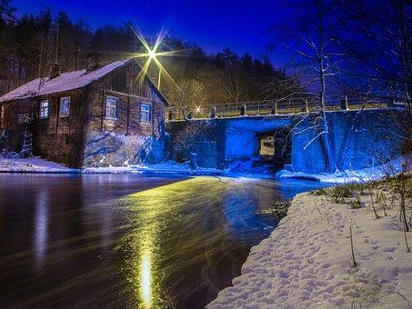 Night, House, Old House, Blue, Winter, Bridge, River