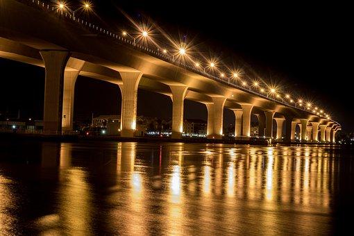 Stuart, 80d, Canon, Bridge, Nighttime, Water, Night