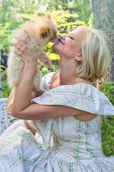 Woman, Puppy, Happy, Kissing, Dog, Pet, Animal, Cute