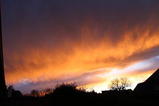Sky, Red Sky, Mood, Farbenspiel, Nature, Weird, Orange