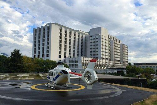 Hospital, Helicopter, Grenoble, Samu, Emergency, Sky