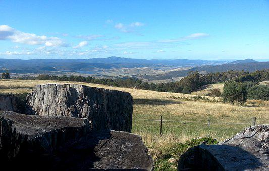 Tasmania, Farm, Countryside, Australia, Paddocks, Sky