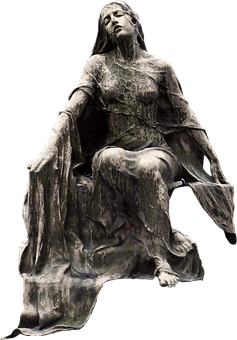 Statue, Sculpture, Figure, Female, Garment, Cemetery