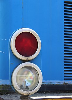 Signal, Blue, Train, Stop Signal, Red White, Light