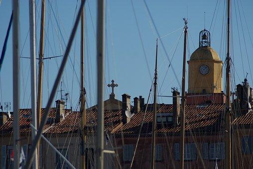 Summer, Saint-tropez, Port, Dome, France, Sea, Church