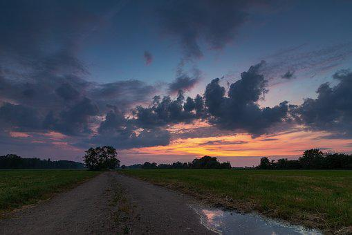 Sunset, Clouds, Abendstimmung, Afterglow, Trees