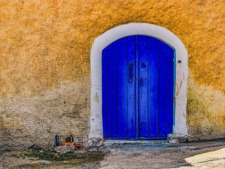 Door, Blue, Wall, Texture, Architecture, Old