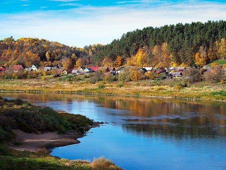 Landscape, River, Water, Town, Autumn, Sky, Houses