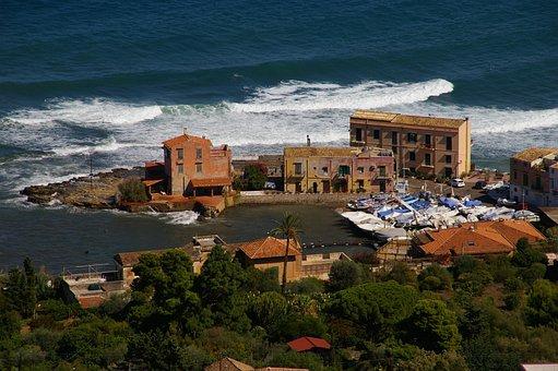 Sicily, Sea, Village By The Sea