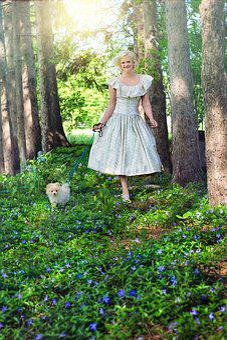 Walking Dog, Pretty Woman, Garden, Spring, Summer